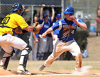 Alderson-Broaddus Battlers catcher Daniel Essian #30 looks to Sean Bennett #4 trying to avoid the tag during a game against the Hillsdale Chargers at the Chain of Lakes Complex on March 17, 2012 in Winter Haven, Florida.  (Mike Janes/Four Seam Images)