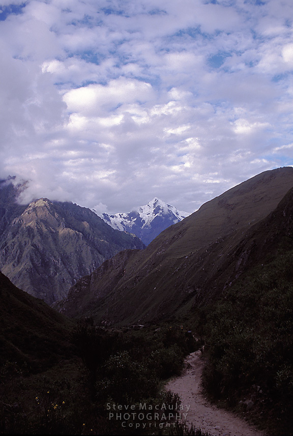 Inca Trail winding it way up from the valley bottom, Peru