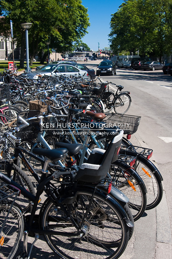 Row of bicycles parked in Copenhagen, Denmark.