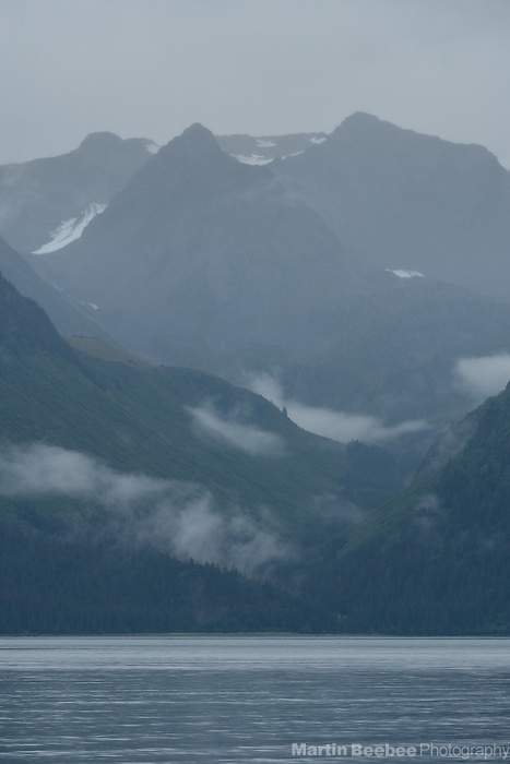 Mist and mountains above Resurrection Bay, Seward, Alaska