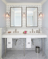 Arabella, a natural stone hand cut and waterjet mosaic shown in polished Carrara and Thassos.<br /> -photo courtesy of Mahogany Builders &amp; Sarah Mellor<br /> www.mahoganybuilders.com