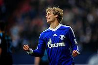 FUSSBALL   1. BUNDESLIGA   SAISON 2012/2013    27. SPIELTAG FC Schalke 04 - TSG 1899 Hoffenheim                       30.03.2013 Torjubel nach dem 3:0: Teemu Pukki (FC Schalke 04)