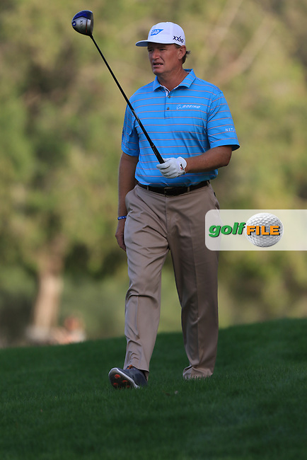 Ernie Els (USA) on the 18th during Round 4 of the Omega Dubai Desert Classic, Emirates Golf Club, Dubai,  United Arab Emirates. 27/01/2019<br /> Picture: Golffile | Thos Caffrey<br /> <br /> <br /> All photo usage must carry mandatory copyright credit (&copy; Golffile | Thos Caffrey)
