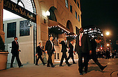 Washington, DC - January 5, 2008 -- United States President-elect Barack Obama (C) is surrounded by Secret Service agents after leaving a party hosted by Assistant Senate Majority Leader Dick Durbin (D-IL), the senior senator from Obama's home state of Illinois, Monday, January 5, 2009 in Washington, DC. After arriving in Washington over the weekend with his family, Obama met with his top economic advisors and Congressional leaders to begin work on an economic stimulus package that he hopes will include hundreds of billions of dollars worth of tax breaks for individuals and businesses.  .Credit: Chip Somodevilla - Pool via CNP