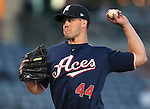 Reno Aces' Clayton Richard pitches against the Omaha Storm Chasers during the first game of the PCL championship series in Reno, Nev., on Monday, Sept. 8, 2014. <br /> Photo by Cathleen Allison