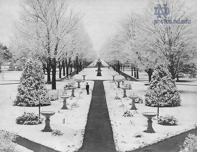 GTJS 3/27:  View of Main Quad from Main Building in winter with snow, c1915.  Image from the University of Notre Dame Archives.