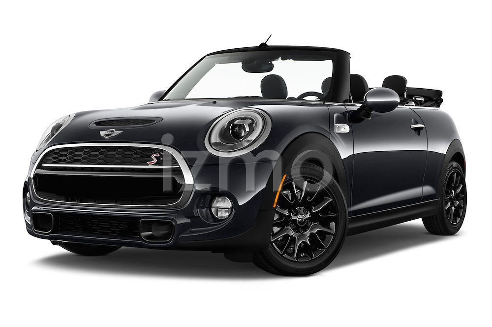 Stock pictures of low aggressive front three quarter view of 2016 MINI MINI Cooper-S-Fwd 2 Door Convertible Low Aggressive