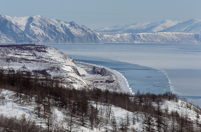 View of the coastline in winter near Ola, East of Magadan. Eastern Siberia, Russia