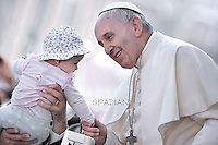 Pope Francis  during his weekly general audience in St. Peter square at the Vatican, Wednesday.13 May 2015