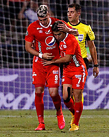 SANTIAGO DE CHILE-CHILE, 10-03-2020: Matias Pisano y Michael Rangel de America de Cali, celebran el segundo gol anotado a Universidad Catolica, durante partido de la fase de grupos, grupo E, fecha 2, entre Universidad Catolica (CHL) y America de Cali (COL) por la Copa Conmebol Libertadores 2020, en el estadio San Carlos de Apoquindo, de la ciudad Santiago de Chile. / Matias Pisano and Michael Rangel of America de Cali, celebrate the second scored goal to Universidad Catolica, during a match of the groups phase, group E, 2nd date, between Universidad Catolica (CHL) of America de Cali (COL) for the Conmebol Libertadores Cup 2020, at the San Carlos de Apoquindo in Santiago de Chile. / Photo: VizzorImage / Dragomir Yankovic / Photosport / Cont.
