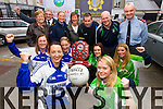 Pictured at the launch of the late Carmel O'Connor memorial Football Match between the Kerry Gardai Ladies and Mna Na Gaeil front l-r: Irene Riordan and Marguerite Maunsell.  Middle l-r: Liz Twomey Cathy Murphy Amy Slattery and Denise Byrnes. Back l-r: Margaret Crean, Ted Moynihan, Helena Carey, Maura O'Sullivan, Eddie Walsh, Eddie Sheehy and Chief Superintendent Pat O'Sullivan.