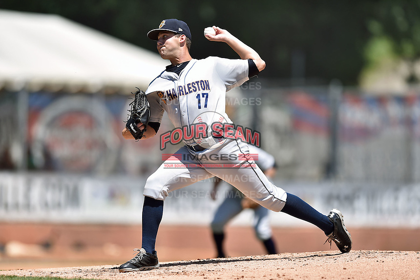 Charleston RiverDogs starting pitcher Conner Kendrick (17) swings at a pitch during a game against the Asheville Tourists on June 14, 2015 in Asheville, North Carolina. The RiverDogs defeated the Tourists 10-5. (Tony Farlow/Four Seam Images)