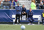 13 November 2011: UNC head coach Carlos Somoano and his assistants. The University of North Carolina Tar Heels defeated the Boston College Eagles 3-1 at WakeMed Stadium in Cary, North Carolina in the Atlantic Coast Conference Men's Soccer Tournament championship game.