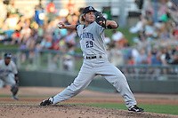 Lake County Captains pitcher Mason Radeke #29 delivers a pitch during a game against the Dayton Dragons at Fifth Third Field on June 25, 2012 in Dayton, Ohio. Lake County defeated Dayton 8-3. (Brace Hemmelgarn/Four Seam Images)