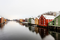 Buildings along the Nidelva River, Trondheim, Norway.