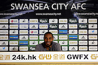 Pictured: Captain Ashley Williams. Thursday 14 August 2014<br /> Re: Swansea City FC press conference at the Liberty Stadium, south Wales, ahead of their first game of the Premier League season against Manchester United this coming Saturday.