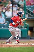 Pawtucket Red Sox right fielder Cole Sturgeon (22) follows through on a swing during a game against the Rochester Red Wings on July 4, 2018 at Frontier Field in Rochester, New York.  Pawtucket defeated Rochester 6-5.  (Mike Janes/Four Seam Images)