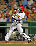 16 August 2008: Washington Nationals' outfielder Willie Harris in action against the Colorado Rockies at Nationals Park in Washington, DC.  The Rockies defeated the Nationals 13-6, handing the last place Nationals their 9th consecutive loss. ..Mandatory Photo Credit: Ed Wolfstein Photo