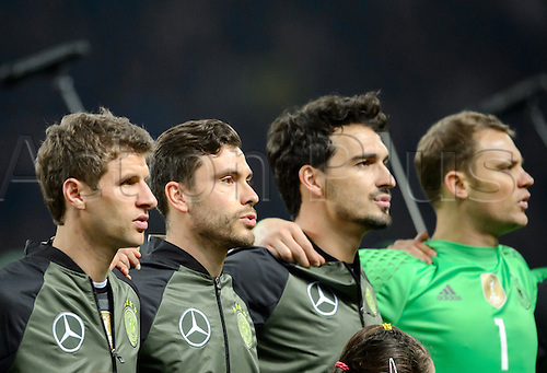 26.03.2016. Olympiastadion Berlin, Berlin, Germany.  (L-R) Germany's Thomas Mueller, Jonas Hector, Mats Hummels and goalkeeper Manuel Neuer prior to the international friendly soccer match between Germany and England at the Olympiastadion