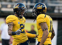 Keenan Allen of California celebrates Michael Calvin of California after Calvin scored a touchdown during the game against Oregon State at AT&T Park in San Francisco, California on November 12th, 2011.   California defeated Oregon State, 23-6.