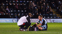 Paul Hayes of Wycombe Wanderers receives treatment before coming off during the Sky Bet League 2 match between Wycombe Wanderers and Crawley Town at Adams Park, High Wycombe, England on 28 December 2015. Photo by Kevin Prescod / PRiME Media Images