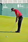 30 August 2009: Tiger Woods putts for birdie on the 18th hole during the final round of The Barclays PGA Playoffs at Liberty National Golf Course in Jersey City, New Jersey.