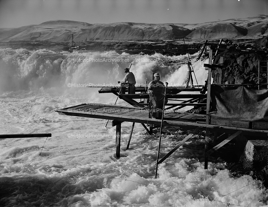 9969-540425-04. Indians fishing at Horseshoe Falls, April 25, 1954.