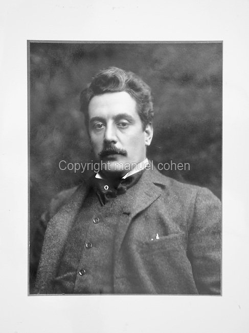 Portrait of Giacomo Puccini, 1858-1924, Italian composers of opera, photograph taken c. 1900 at Studio Bertierl. Copyright © Collection Particuliere Tropmi / Manuel Cohen