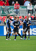 25 September 2010:  San Jose Earthquake players celebrate Chris Wondolowski's penalty shot goal during a game between the San Jose Earthquakes and Toronto FC at BMO Field in Toronto..San Jose Earthquakes won 3-2....
