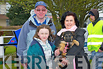 PUPPY: Sean,Aileen and Laoise Rush (Tralee) and their puppy Bambi Looking over some of the machinery on display at the Kingdom County Fair at Ballbeggan Racing Course  Sunday.