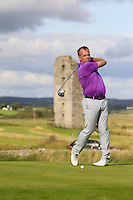 Pat Murray (Limerick) smashes a drive off the 13th tee and gets an Albatross - Hole in 1 during Round 2 of The South of Ireland in Lahinch Golf Club on Sunday 27th July 2014.<br /> Picture:  Thos Caffrey / www.golffile.ie