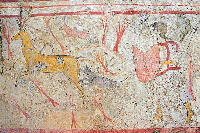 Lucanian fresco tomb painting of a man hunting. Paestrum, Andriuolo. Tomb n. 18.  (370-360 BC)