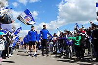 The Bath Rugby team make their way through the Tunnel of Noise prior to the match. Aviva Premiership match, between Bath Rugby and Sale Sharks on April 23, 2016 at the Recreation Ground in Bath, England. Photo by: Alexander Davidson / JMP for Onside Images