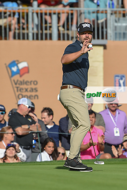 Ryan Moore (USA) after sinking his par putt on 18 during day 4 of the Valero Texas Open, at the TPC San Antonio Oaks Course, San Antonio, Texas, USA. 4/7/2019.<br /> Picture: Golffile | Ken Murray<br /> <br /> <br /> All photo usage must carry mandatory copyright credit (© Golffile | Ken Murray)