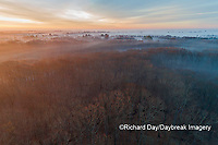 63895-16910 Sunrise and fog Stephen A. Forbes State Park-aerial-Marion Co. IL