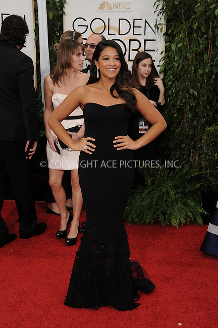 WWW.ACEPIXS.COM<br /> <br /> January 11 2015, LA<br /> <br /> Gina Rodriguez arriving at the 72nd Annual Golden Globe Awards at The Beverly Hilton Hotel on January 11, 2015 in Beverly Hills, California.<br /> <br /> <br /> By Line: Peter West/ACE Pictures<br /> <br /> <br /> ACE Pictures, Inc.<br /> tel: 646 769 0430<br /> Email: info@acepixs.com<br /> www.acepixs.com
