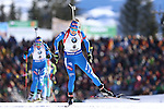 IBU World Championships Biathlon 2017 Hochfilzen. Germany's Laura Dahlmeier wins the Gold Medal of the Women 12.5 km Mass Start Race in Hochfilzen, Austria on 20170219. Susan Dunklee from USA is second and Finland's Kaisa Makarainen takes the bronze. Dorothea Wierer