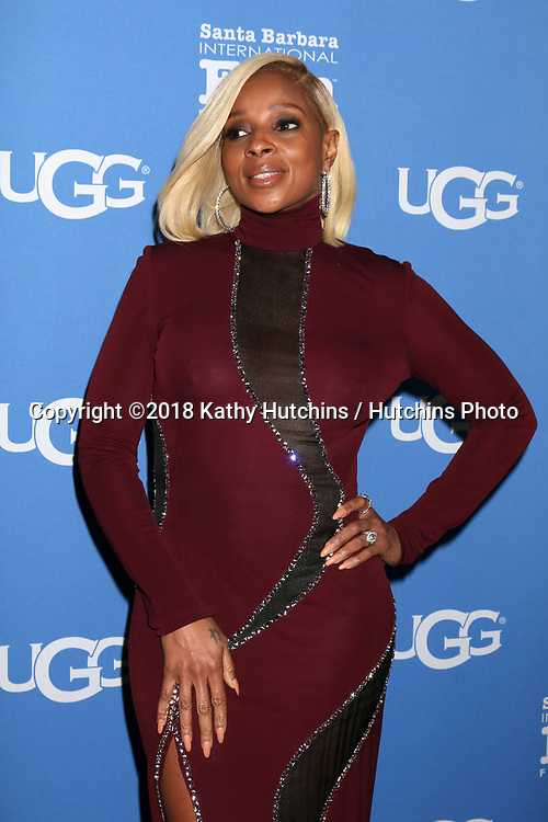 SANTA BARBARA - FEB 3:  Mary J Blige at the 33rd Annual Santa Barbara International Film Festival Virtuosos Award at Arlington Theater on February 3, 2018 in Santa Barbara, CA