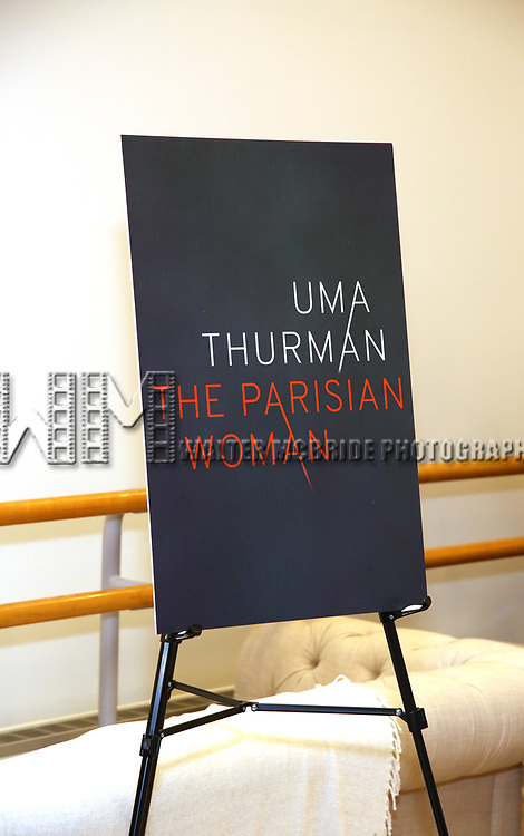 Theatre poster sinage at the Meet & Greet Photo Call for the cast of Broadways 'The Parisian Woman' at the New 42nd Street Studios on October 18, 2017 in New York City.