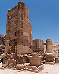 The ruins of the Triumphal Arch or Hadrian Gate built by the Romans on the Colonnade Street in the ruins of the Nabataean city of Petra in the Hashemite Kingdom of Jordan.  Petra Archeological Park is a Jordanian National Park and a UNESCO World Heritage Site.