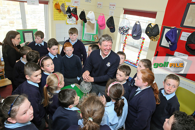 Des Smyth pictured with the Dubai Duty Free Irish Open Trophy during his visit to Cornanool NS Castlebar.<br />