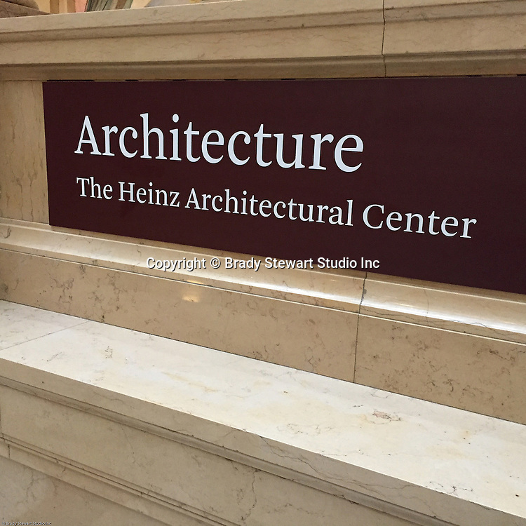 Pittsburgh PA:  View of the entrance to the Heinz Architectural Center inside the Carnegie Museum of Art - 2015.  Photographs from the Brady Stewart Archives were used in the exhibition about Pittsburgh's architectural evolution 1945-1970.  <br /> Press release can be found at the following internet address; http://press.cmoa.org/2015/05/27/hac-lab-pittsburgh/.