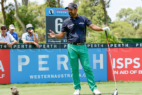 28.02.2016. Perth, Australia. ISPS HANDA Perth International Golf. Shiv Kapur (IND) calls for another ball after hitting his first one out of bounds at the 6th during his final round.
