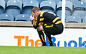 Alloa's Andy Kirk can't believe that he managed to knock the ball past the post when it looked easier to hit the empty net.