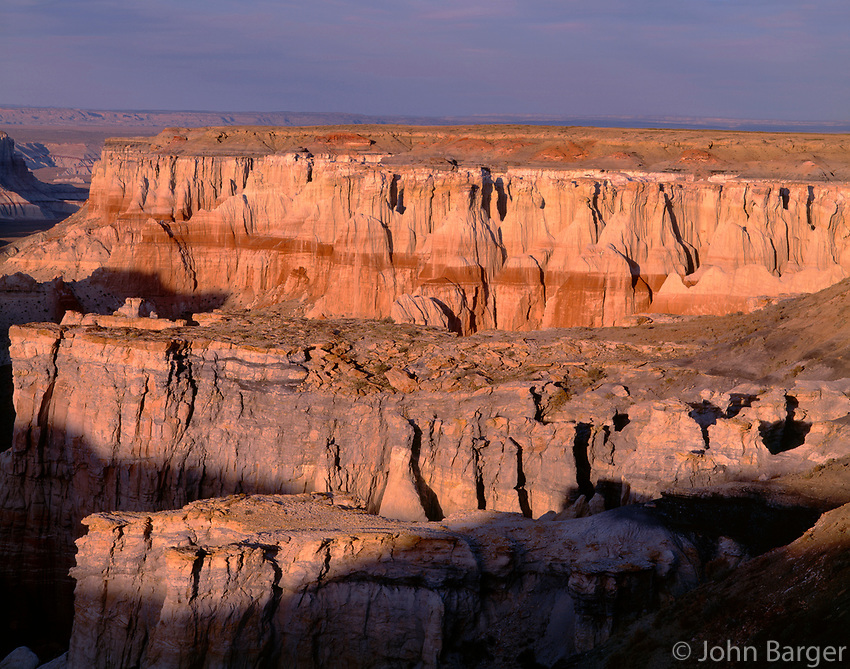 AZNE_05 -   Evening light defines eroded formations at Coal Mine Canyon, Moenkopi Plateau, Coconino County, northeast Arizona, USA --- (4x5 inch original, File size: 7626x6000, 131mb uncompressed).