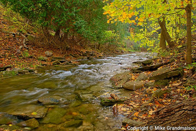 Kagawong Creek in autumn downstream from Bridal Veil Falls. Manitoulin Island<br />Kagawong<br />Ontario<br />Canada