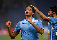 Calcio, Serie A: Lazio vs Udinese. Roma, stadio Olimpico, 13 settembre 2015.<br /> Lazio&rsquo;s Alessandro Matri celebrates after scoring his second goal during the Italian Serie A football match between Lazio and Udinese at Rome's Olympic stadium, 13 September 2015.<br /> UPDATE IMAGES PRESS/Isabella Bonotto