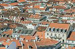 Portugal, Lisbon, Baixa Rooftops from Sao Jorge Castle