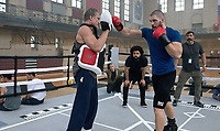 Behind the scenes photo of Dolph Lundgren, Steven Caple Jr & Florian Munteanu.<br /> Creed II (2018) <br /> Creed 2 (2018)<br /> *Filmstill - Editorial Use Only*<br /> CAP/RFS<br /> Image supplied by Capital Pictures