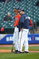 Jake McCarthy (31) of the Virginia Cavaliers chats with third base coach Kevin McMullan during the game against the Duke Blue Devils in Game Seven of the 2017 ACC Baseball Championship at Louisville Slugger Field on May 25, 2017 in Louisville, Kentucky. The Blue Devils defeated the Cavaliers 4-3. (Brian Westerholt/Four Seam Images)